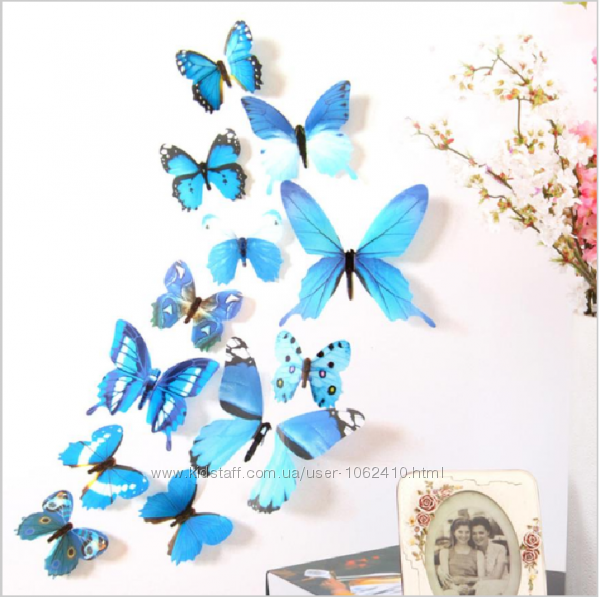 Пестрые, разноцветные бабочки 3 D для дизайна