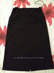 Черная юбка для беременных в тоненькую полоску