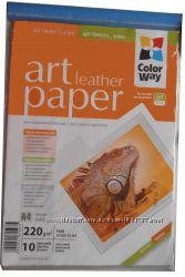 Фотобумага Color Way кожа, А4, 10 листов. Для творчества и дизайна.