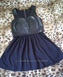 Mohito состояние нового шикарное комбинированное платье s-m
