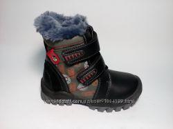 Ботинки детские зимние тёплые, красивые дешовые стильные с 21-29 размер