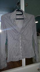Рубашка COLINS, белая в чёрную полоску