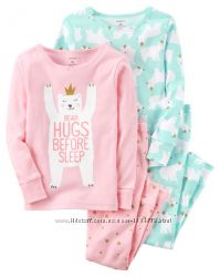 Carters наборы  хлопковых пижам для девочек 3т, 4Т,