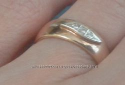 кольцо серебро с позолотой