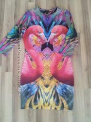 яркое платье с принтом фламинго
