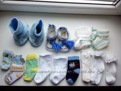Носки пинетки вязаные махровые и тонкие от 0 до 12 мес