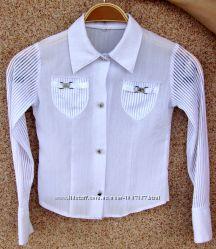 Блузка белая школьная 6-9 лет. Рост 134