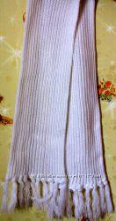 Шарф белый вязаный 150 см длина, 20 см ширина
