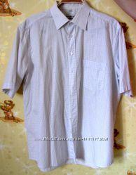 Рубашка в мелкую клетку белая, воротник 38 см
