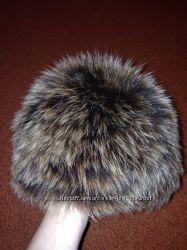 Меховая вязанная шапка, песец в отл. сост. , на голову 55-56см, есть фото