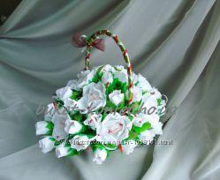 Букет на свадьбу, свадебный букет из конфет, свадебные цветы