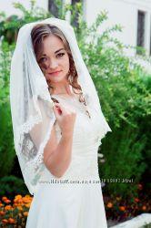 Фата невесты с кружевом шантильи. Мантилья. свадебный салон