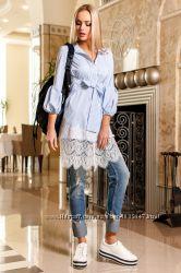Оригинальное платье туника с Кружевом в полоску 3 цвета S-XL