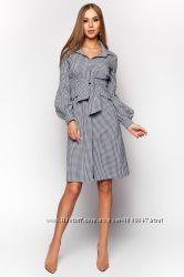 Элегантное платье Рубашка в мелкую клетку черное и темно-синее S-XL