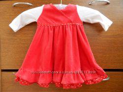 Велюровое платье Matalan на длинный рукав на девочку 3 месяца