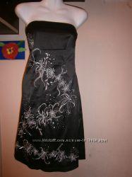 Вечернее платье jane norman черное без бретелек 44-46 размер