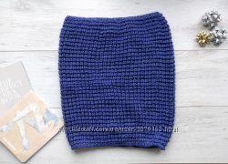 Новый итальянский шарф снуд Tezenis двусторонний теплый синий с люрексом