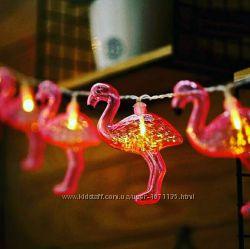 гирлянда фламинго ночник в детскую фламинго