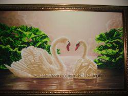 Картина бисером лебединая верность