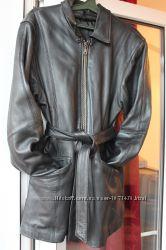 Продам женскую кожаную куртку длинную с поясом - 48, 50 L, XL