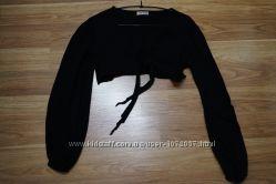 черная кофточка-накидка - под грудью на завязках, размер универсальный