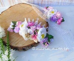 Цветочная повязка с короной украшения мама и дочка