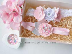 Набор повязок бантик цветы веночек подарок для девочки
