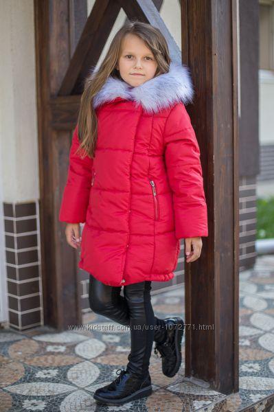 Крутая зимняя куртка для девочки Suzie Грейс синяя и красная