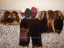 новогодний костюм мишки, колобка и петрушки