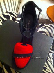 Брендовые босоножки Yves Saint Laurent комбинир. шелк - кожа натур.