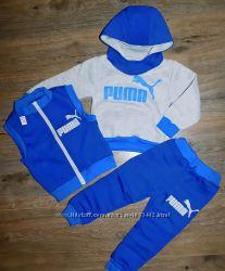 Детский теплый спортивный костюм Puma разные цвета. ШАПКА В ПОДАРОК