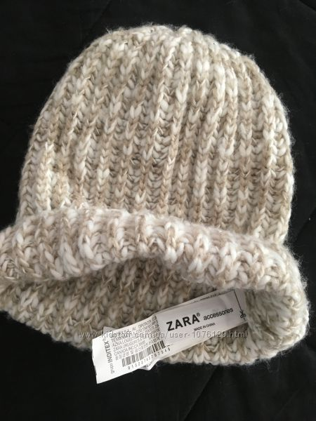 Тёплая шапка ZARA на девочку 8-14 лет, 100 акрил