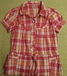 Блуза из жатой ткани в клетку  Новая, но без бирки Цену снизила