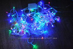 Гирлянда новогодняя диодная 10 м 100 диодов яркая разноцветная
