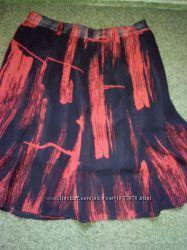 Юбки красная годе, прямая короткая