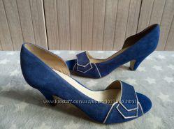Новые кожаные замшевые босоножки-туфли синие 37 размер