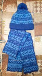 Теплая шапка 46р. с шарфом