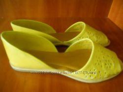 Босоножки сандали балетки открытый носок натурал кожа желтые стелька 23 см