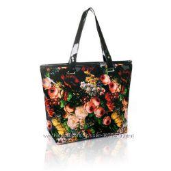 Сумка лаковая весеннее настроение узор цветы кошелек шарф