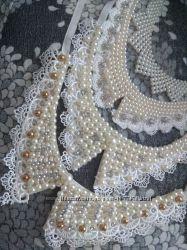 Воротник жемчуг декоративный накладной ожерелье черный белый разные