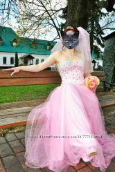 СвадебноеВыпускное розовое платье, фата, колготки сетка, болеро лебяжий пух