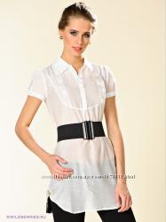 Удлиненная белая блуза с поясом, Incity, р. 46