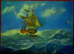 Картина маслом Парусник