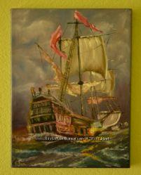 Продам картину маслом Летучий голландец