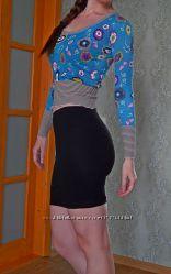 Трикотажная чёрная мини юбка