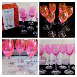 Набор рюмок розовое люминесцентное стекло Ограниченная серия
