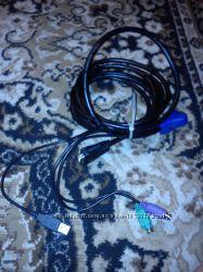 RGB кабель с разветвителями для миши, клавиатуры и USB.
