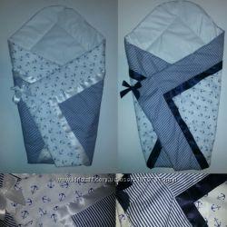 Конверт для выписки крыжма одеяло одеяльце плед хлопок и на овчине 50