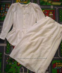 Нарядный Белый костюм юбка и блуза блузка Можно свадьба, праздник, офис