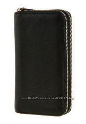Солидный практичный мужской кожаный клатч черный